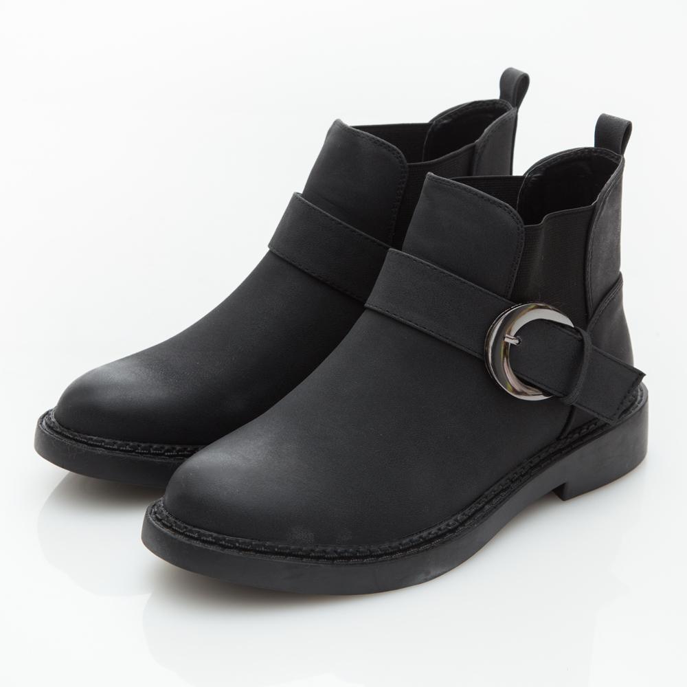JMS-經典皮帶扣環側鬆緊拼接短靴-黑色