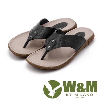 W&M 時尚機能休閒夾腳拖鞋 男鞋-黑(另有棕)