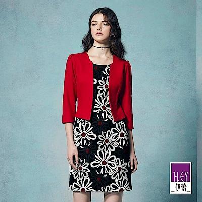 ILEY伊蕾 都會緹織假兩件洋裝(紅)