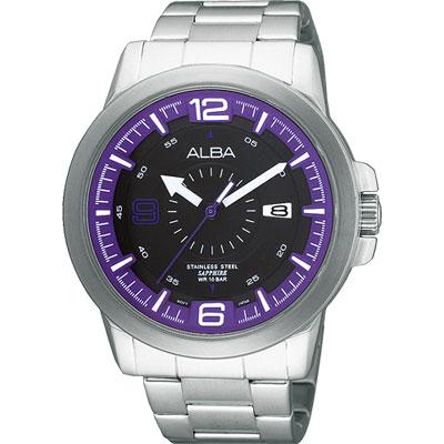 ALBA ACTIVE 大世紀爭霸腕錶(AS9161X)-黑x紫/44mm