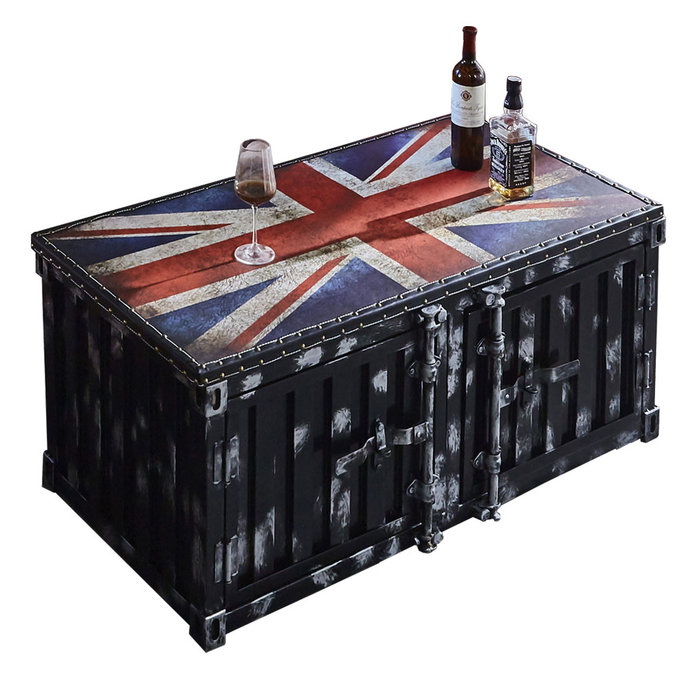 AT HOME-工業風設計英國旗黑色貨櫃茶几(120*60*51cm)布雷克