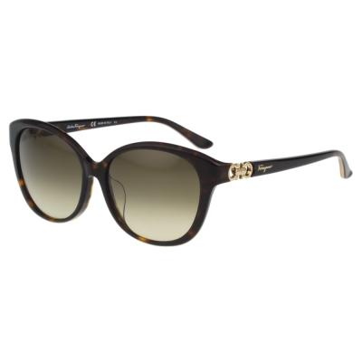 Salvatore Ferragamo- 時尚太陽眼鏡(琥珀色)