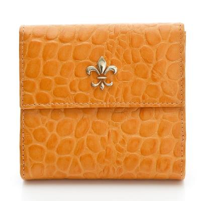義大利BGilio - 亮麗鱷魚紋牛皮短夾-橘黃色1453.318-22