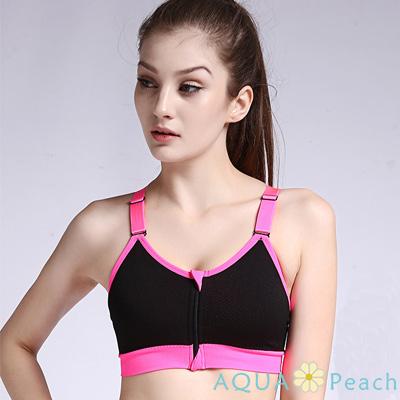 運動內衣 前拉鍊撞色挖背可調肩帶運動內衣 (黑色)-AQUA Peach