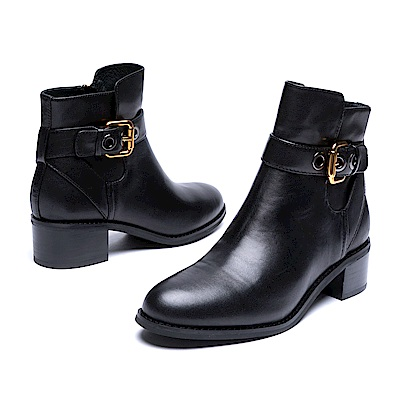 達芙妮DAPHNE 短靴-皮釦繞踝牛皮拼接粗跟踝靴-黑