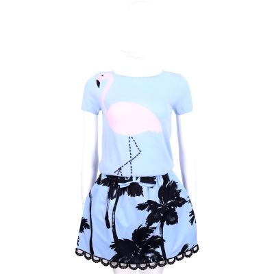 MOSCHINO 藍色椰樹圖印蕾絲花邊褲裙