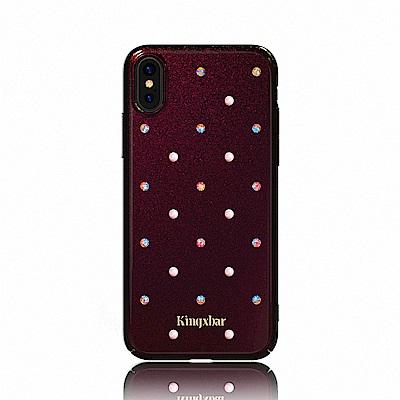 Kingxbar iPhone X 施華洛世奇珍珠鑽保護殼-珠光黑