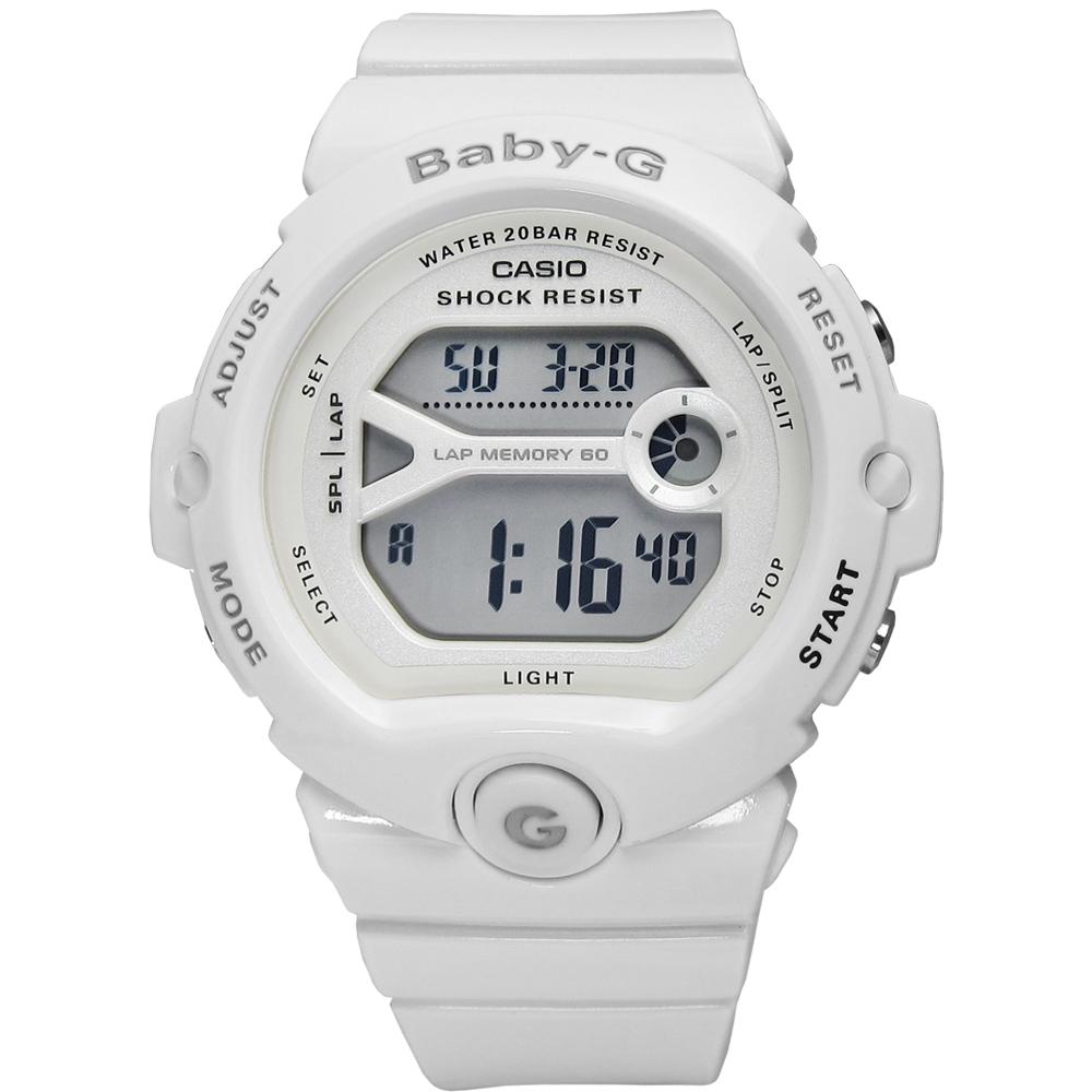 BABY-G 早春新色慢跑運動計時手錶(BG-6903-7B)-雪白色/44mm