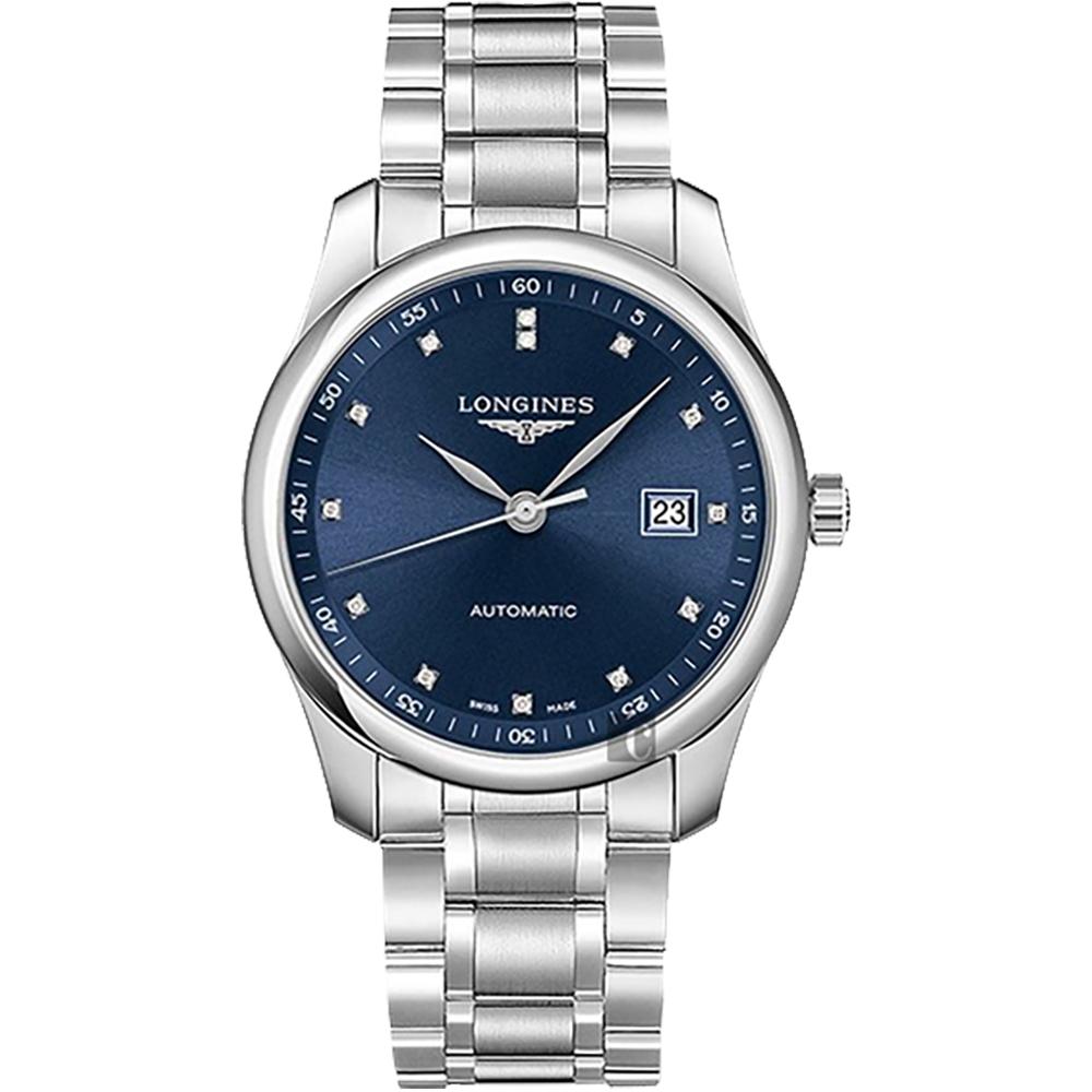 LONGINES浪琴 Master 巨擘真鑽機械錶-藍/40mm L27934976