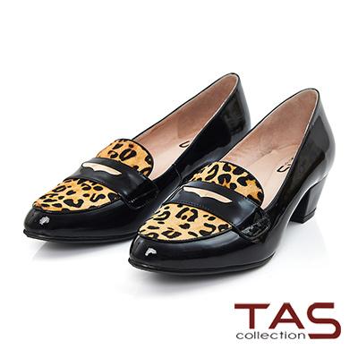 TAS 一字金屬馬毛拼接樂福粗跟鞋-豹紋亮皮黑