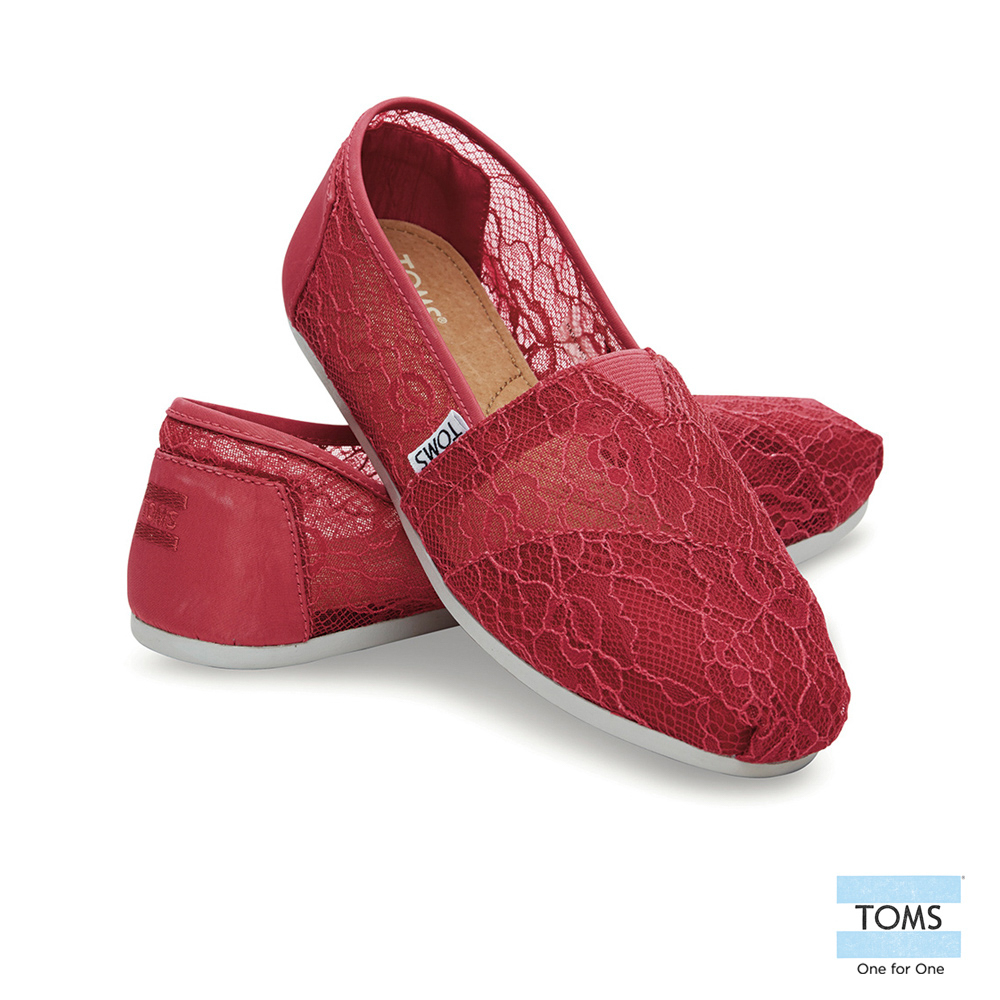 TOMS 經典雕花蕾絲懶人鞋-女款(莓紅)