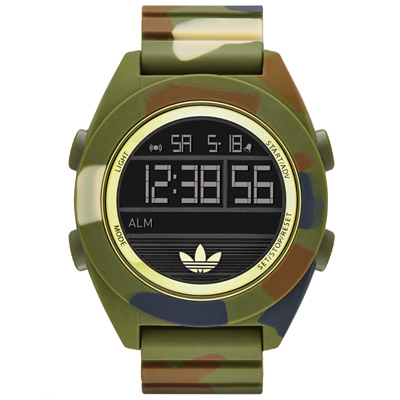 adidas 線條創造三葉圓框數位迷彩腕錶-墨綠x金框/48mm