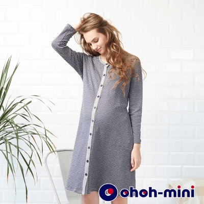 ohoh-mini 孕婦裝 休閒條紋居家哺乳洋裝-2色
