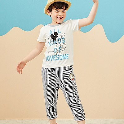 Disney 米奇系列條紋自然風休閒褲 (共2色)