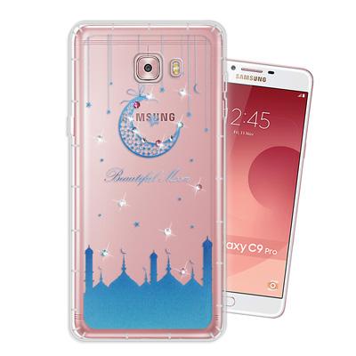 WT Samsung Galaxy C9 Pro 奧地利水晶彩繪空壓手機殼(月彎...