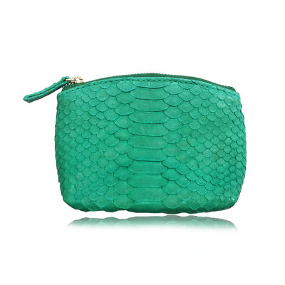 ACUBY-限量單品手工蟒蛇皮零錢包-湖水綠