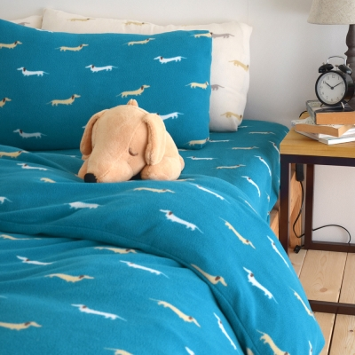 絲薇諾  台灣製搖粒絨雙人被套6×7尺 帕比狗狗-藍色