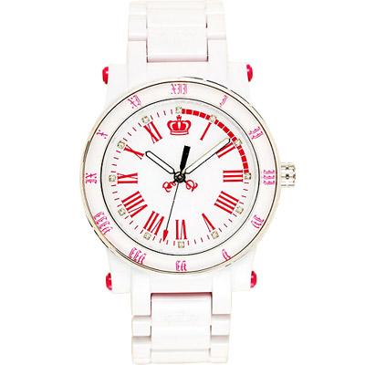 Juicy Couture HRH 美麗新世界玻麗腕錶-白/桃紅時標/38mm