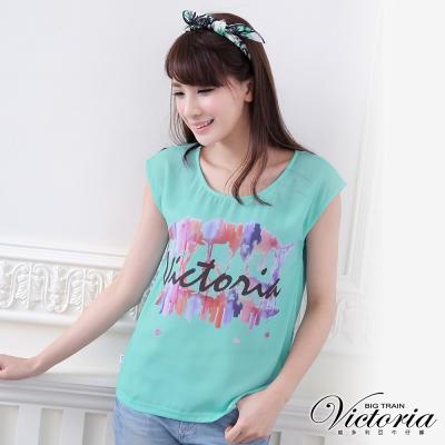 Victoria 繽紛LOGO印花TEE-女-淺綠