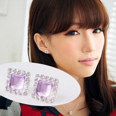維克維娜 嬌貴公主。亮眼方鑽鑲透紫鑽極美 925純銀耳環