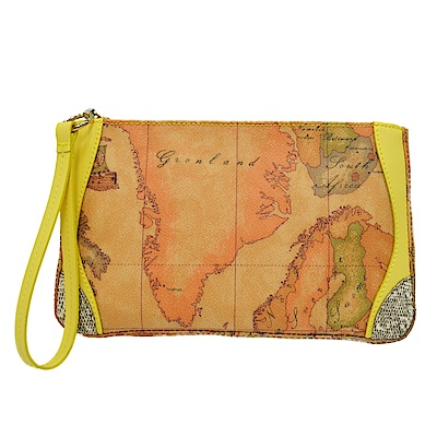Alviero Martini地圖包 蜥蜴紋手掛零錢包-黃