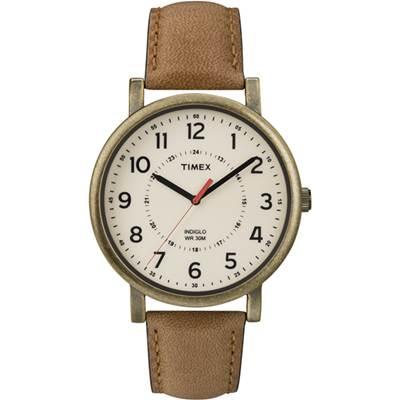 TIMEX 天美時 經典復刻冷光系列腕錶-米白x仿舊金框/42mm