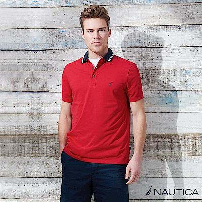 Nautica 潮男撞色短袖POLO衫 -紅