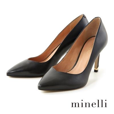 Minelli-V型鞋口尖頭高跟鞋-時髦黑