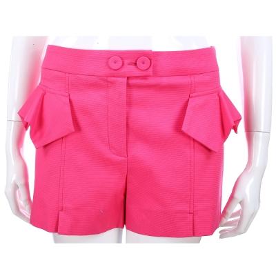 SCERVINO 桃紅色荷葉裁片棉質短褲