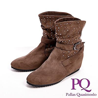 PQ 麂皮感亮鑽內增高女靴-卡其(另有黑)