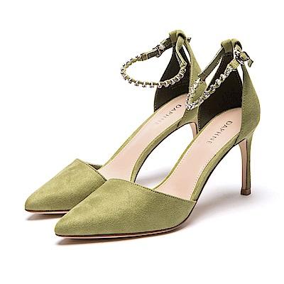 達芙妮DAPHNE 高跟鞋-水鑽一字踝帶挖空尖頭高跟鞋-綠
