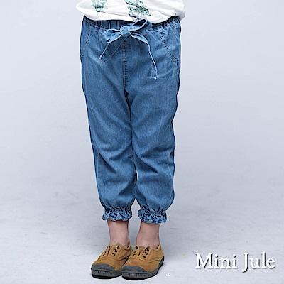 Mini Jule 童裝-長褲 綁帶縮口鬆緊長褲(藍)