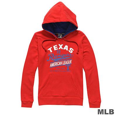 MLB-德州遊騎兵隊運動風印花連帽長袖厚T恤-紅 (女)