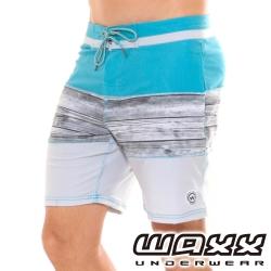 WAXX熱浪系列-藍色大海拼接快乾型男衝浪褲(18英吋)