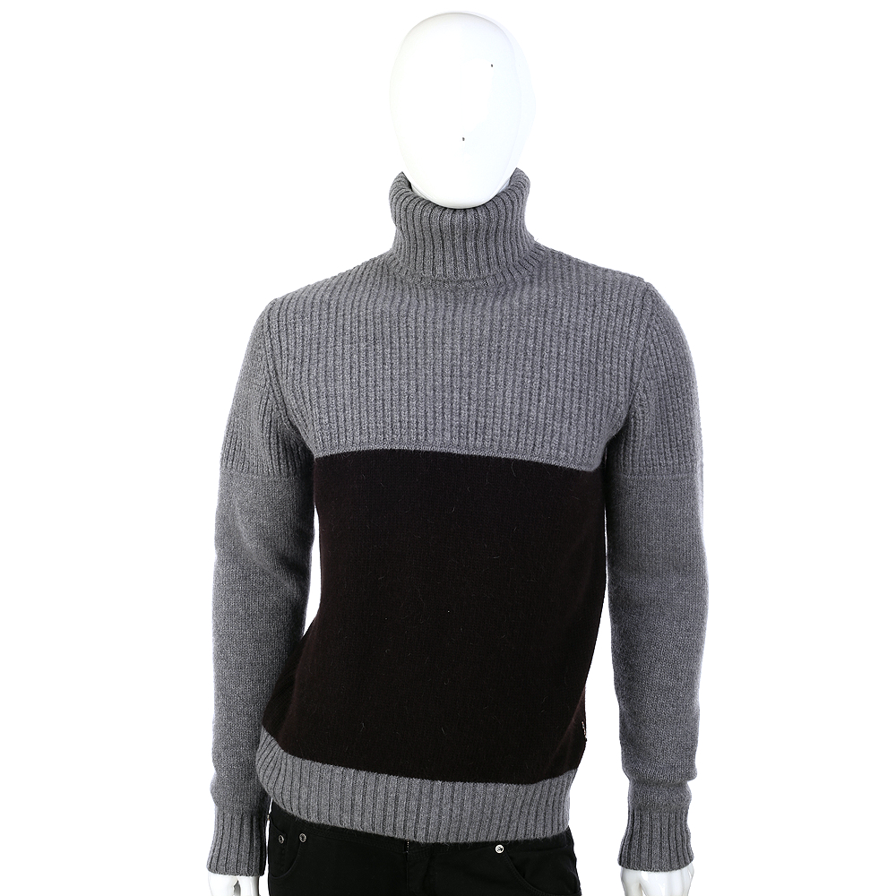 DAKS 拼接設計高領長袖毛衣(灰色)