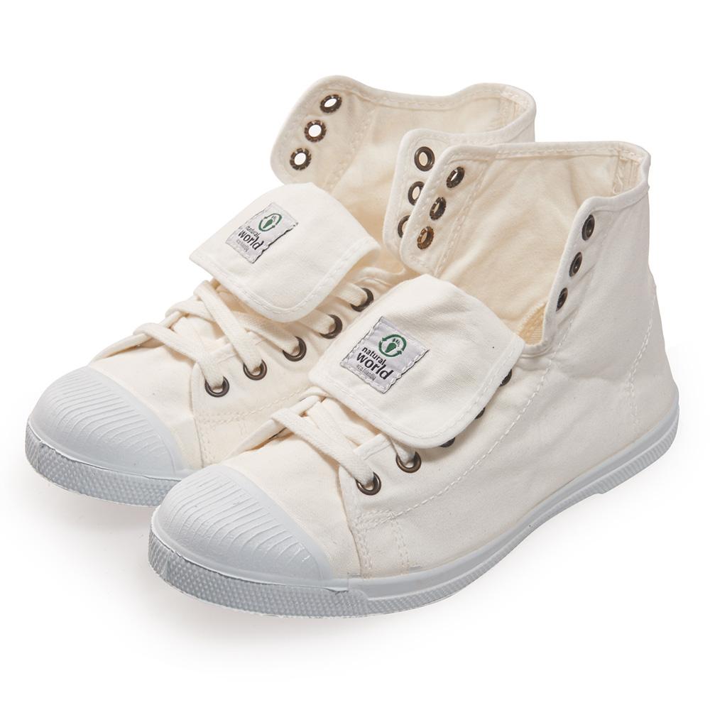 (女)Natural World 西班牙休閒鞋 高筒8孔綁帶基本款*白色
