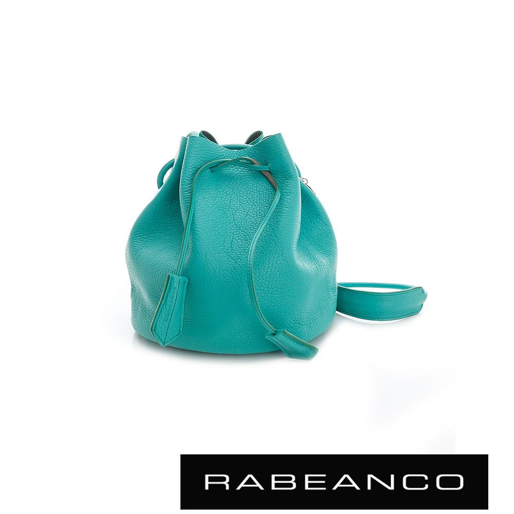 RABEANCO真皮經典束口水桶包 湖水綠
