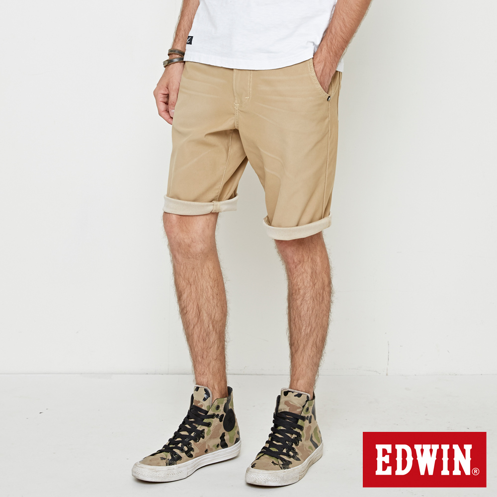 EDWIN 加大碼迦績褲JERSEY寬鬆色褲短褲-男-淺卡其