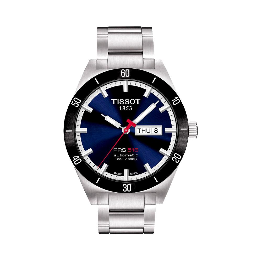 TISSOT PRS516經典機械鋼帶腕錶-藍42mm