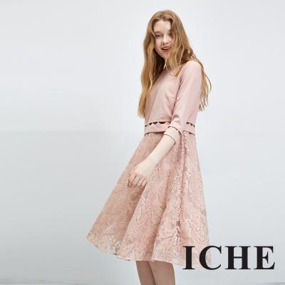 Chaber巧帛 衣哲 假兩件簍空拼接蕾絲粉洋裝