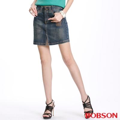 BOBSON 女款車縫線牛仔短裙(藍D073-53)