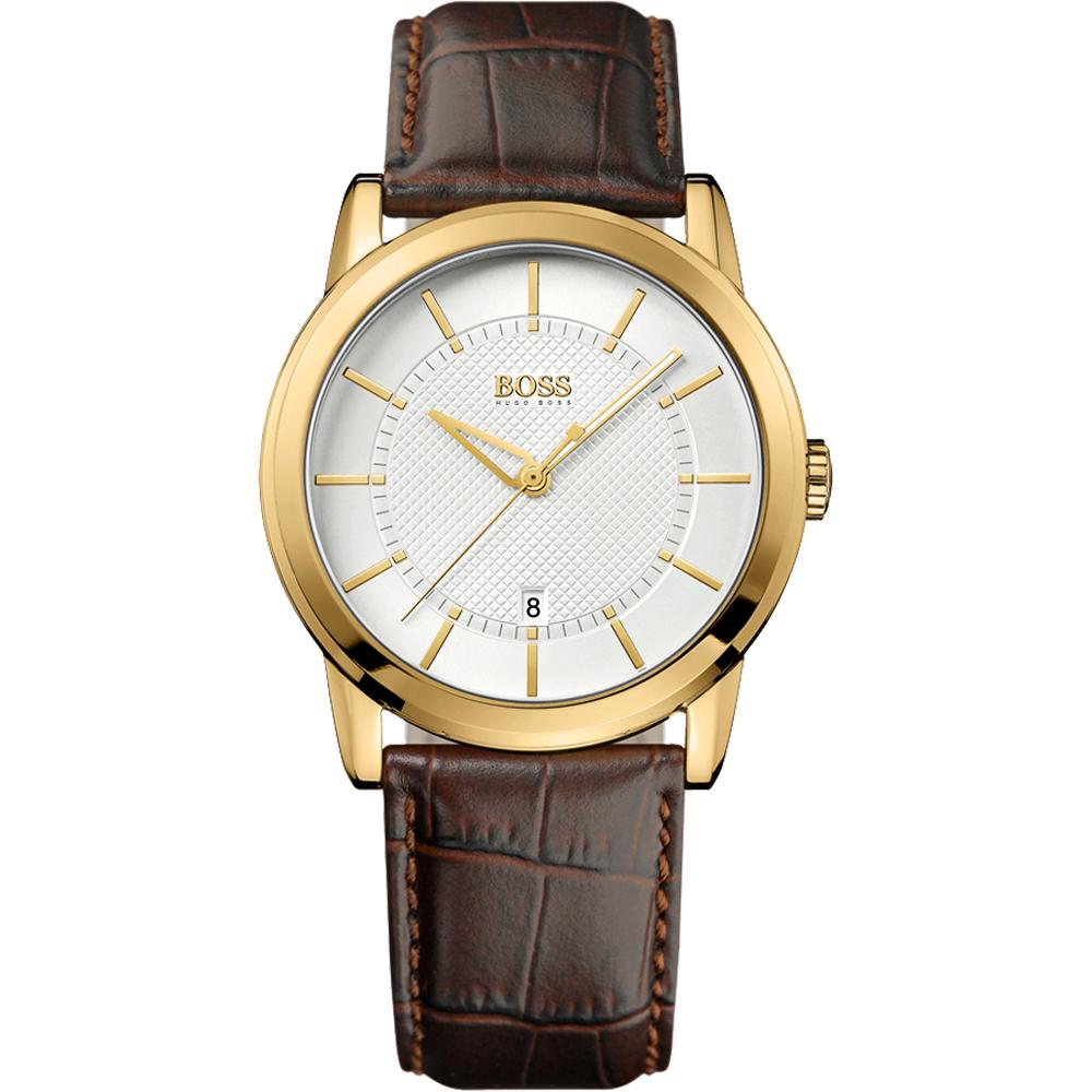Hugo Boss 紳士家德式復刻腕錶-銀白/金框/40mm
