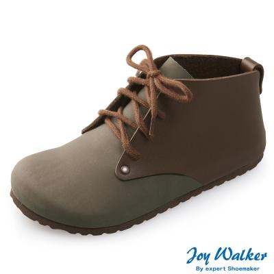 Joy Walker 高筒拼接綁帶包鞋*深咖啡