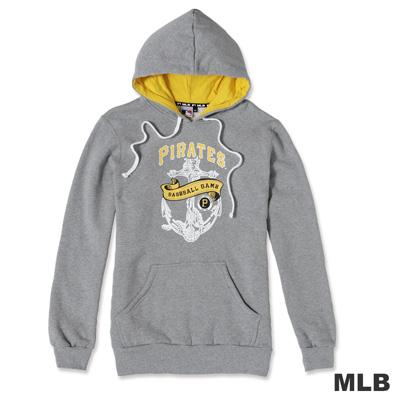 MLB-匹茲堡海盜隊雙色連帽船錨印花厚T恤-麻灰色(男)