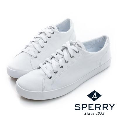 SPERRY-潮流個性6眼釦輕薄帆布鞋-中性款-白