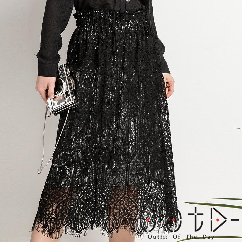 兩穿式百褶蕾絲長裙(共二色)-OOTD