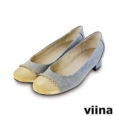 viina-復古奢華撞色金鍊低跟鞋-灰色