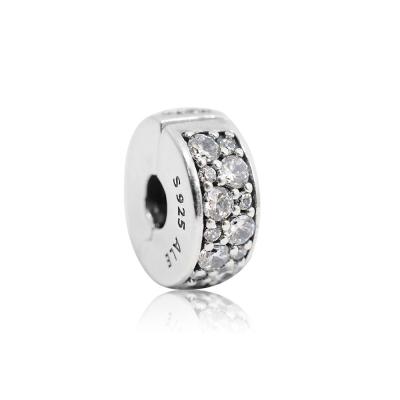 Pandora 潘朵拉 透明鑲鋯水晶扁狀夾扣式 純銀墜飾 串珠