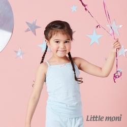 Little moni 涼感系列點點印圖兒童細肩帶背心 亮天藍