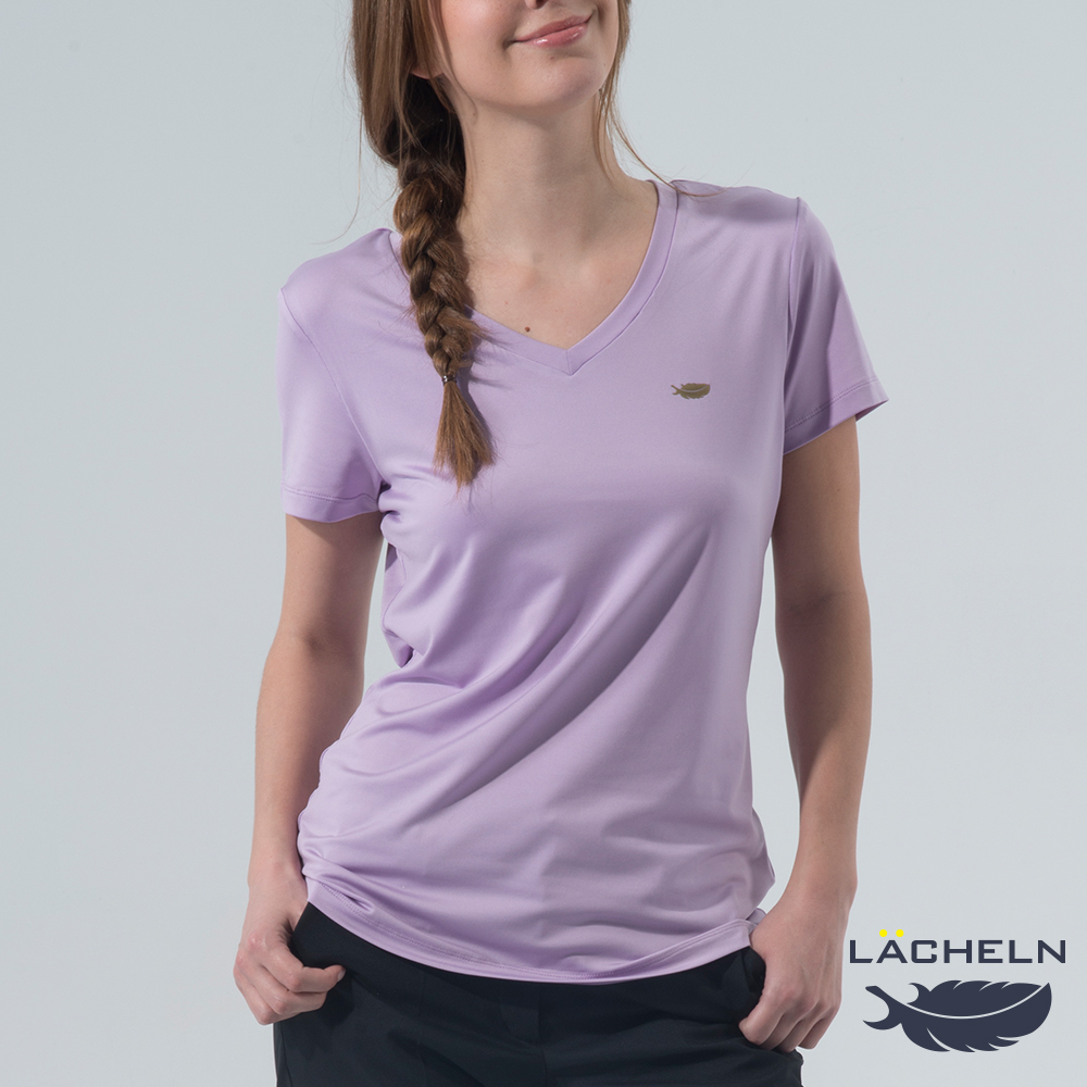 【LACHELN】Coolmax彈性V領衫-淺粉紫(L62WK02)